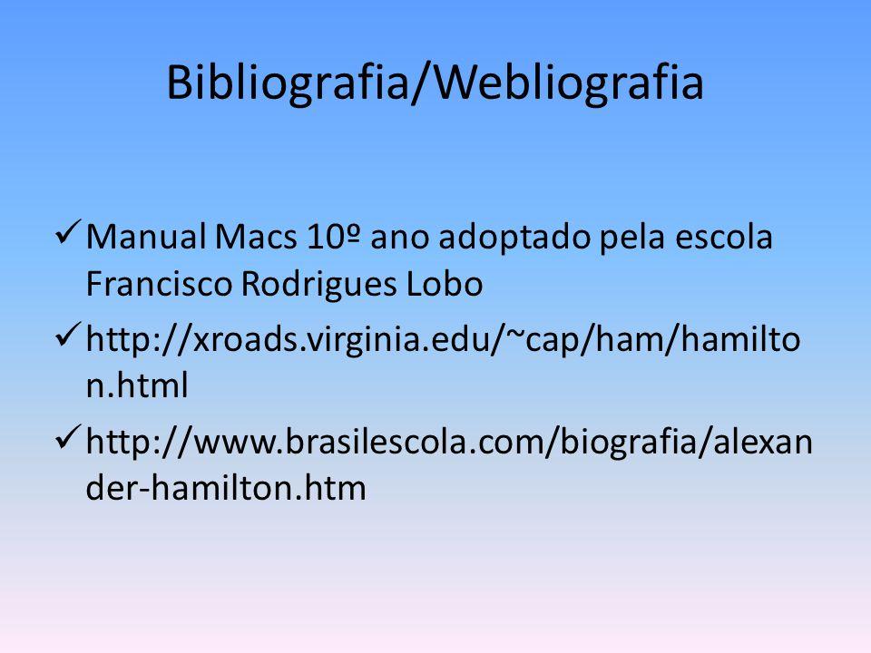 Bibliografia/Webliografia  Manual Macs 10º ano adoptado pela escola Francisco Rodrigues Lobo  http://xroads.virginia.edu/~cap/ham/hamilto n.html  h