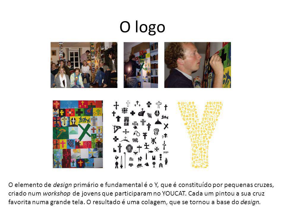 O logo O elemento de design primário e fundamental é o Y, que é constituído por pequenas cruzes, criado num workshop de jovens que participaram no YOU
