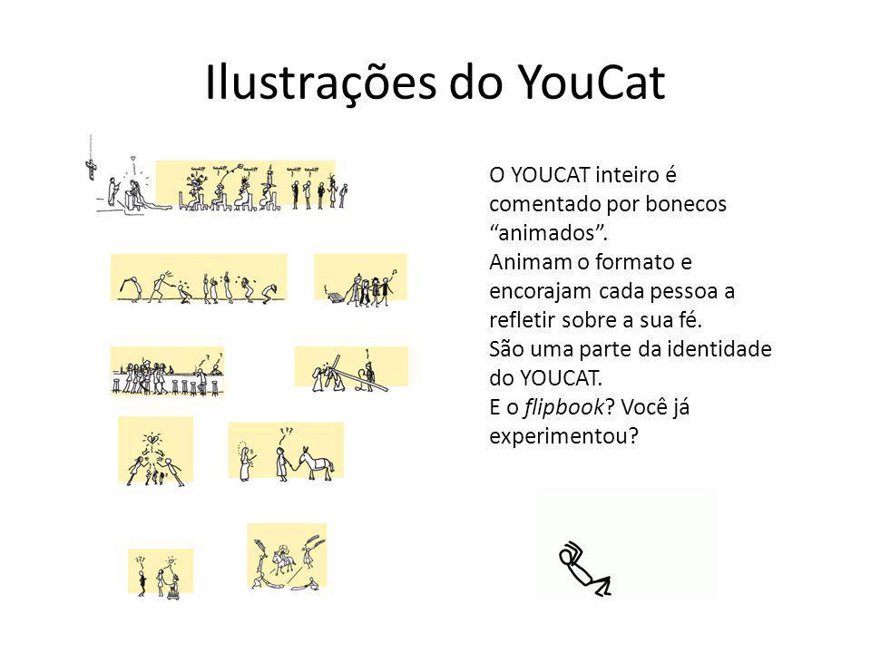 """Ilustrações do YouCat O YOUCAT inteiro é comentado por bonecos """"animados"""". Animam o formato e encorajam cada pessoa a refletir sobre a sua fé. São uma"""