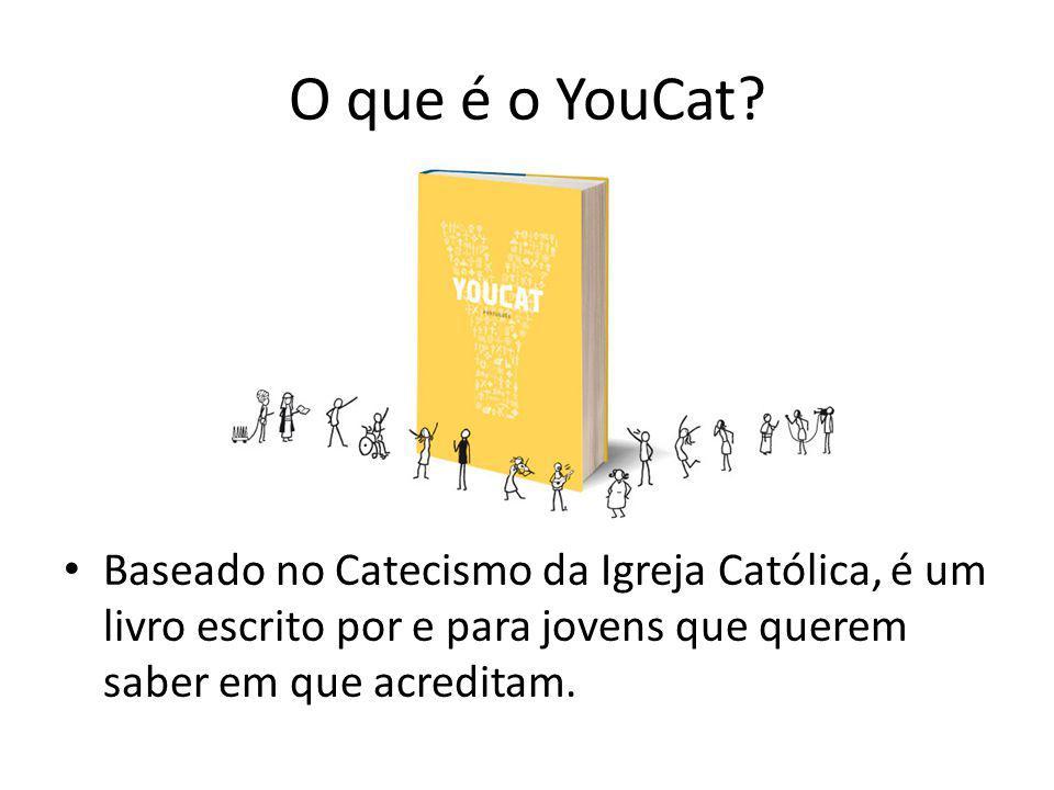 Estrutura do YouCat 1- Perguntas e respostas (527) 2- Respostas curtas e precisas (com referências ao CaIC) 3- Textos explicativos, com exemplos para facilitar a compreensão.