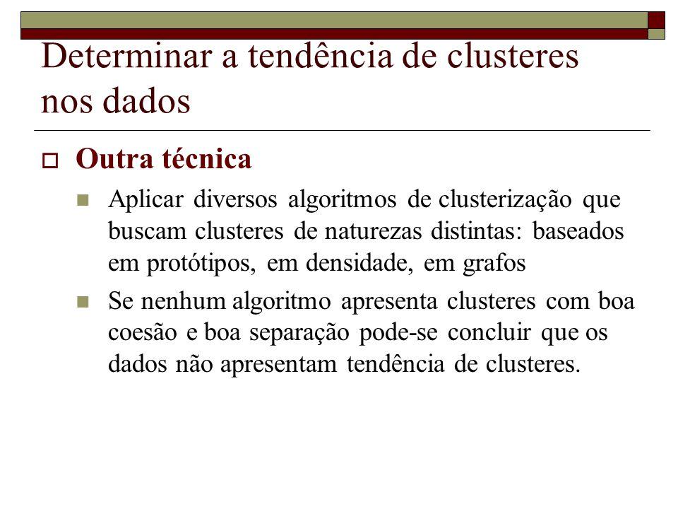 Determinar a tendência de clusteres nos dados  Outra técnica  Aplicar diversos algoritmos de clusterização que buscam clusteres de naturezas distint