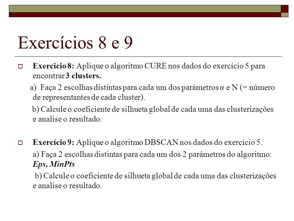 Exercícios 8 e 9  Exercicio 8: Aplique o algoritmo CURE nos dados do exercício 5 para encontrar 3 clusters. a) Faça 2 escolhas distintas para cada um