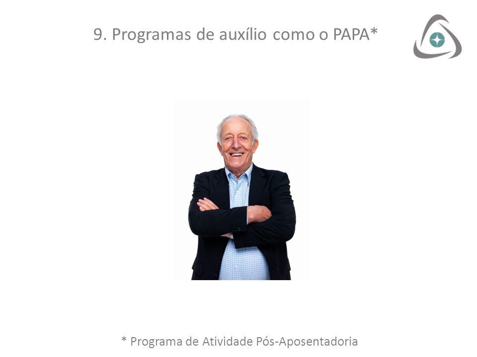 9. Programas de auxílio como o PAPA* * Programa de Atividade Pós-Aposentadoria