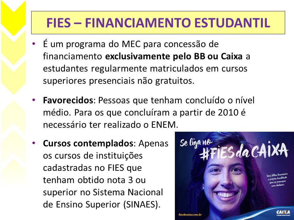 FIES – FINANCIAMENTO ESTUDANTIL • É um programa do MEC para concessão de financiamento exclusivamente pelo BB ou Caixa a estudantes regularmente matri