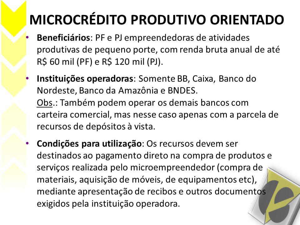 MICROCRÉDITO PRODUTIVO ORIENTADO • Beneficiários: PF e PJ empreendedoras de atividades produtivas de pequeno porte, com renda bruta anual de até R$ 60