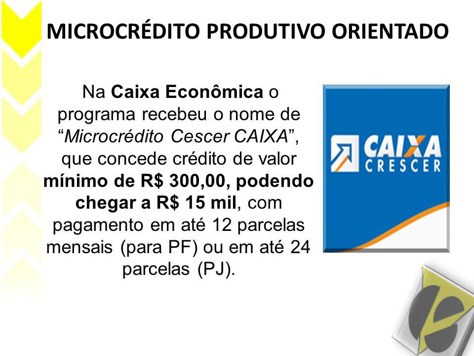 """MICROCRÉDITO PRODUTIVO ORIENTADO Na Caixa Econômica o programa recebeu o nome de """"Microcrédito Cescer CAIXA"""", que concede crédito de valor mínimo de R"""