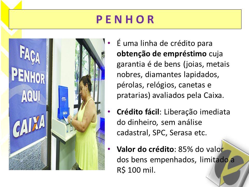 P E N H O R • Exclusividade: Somente a Caixa está autorizada a realizar operações de empréstimo sob penhor.