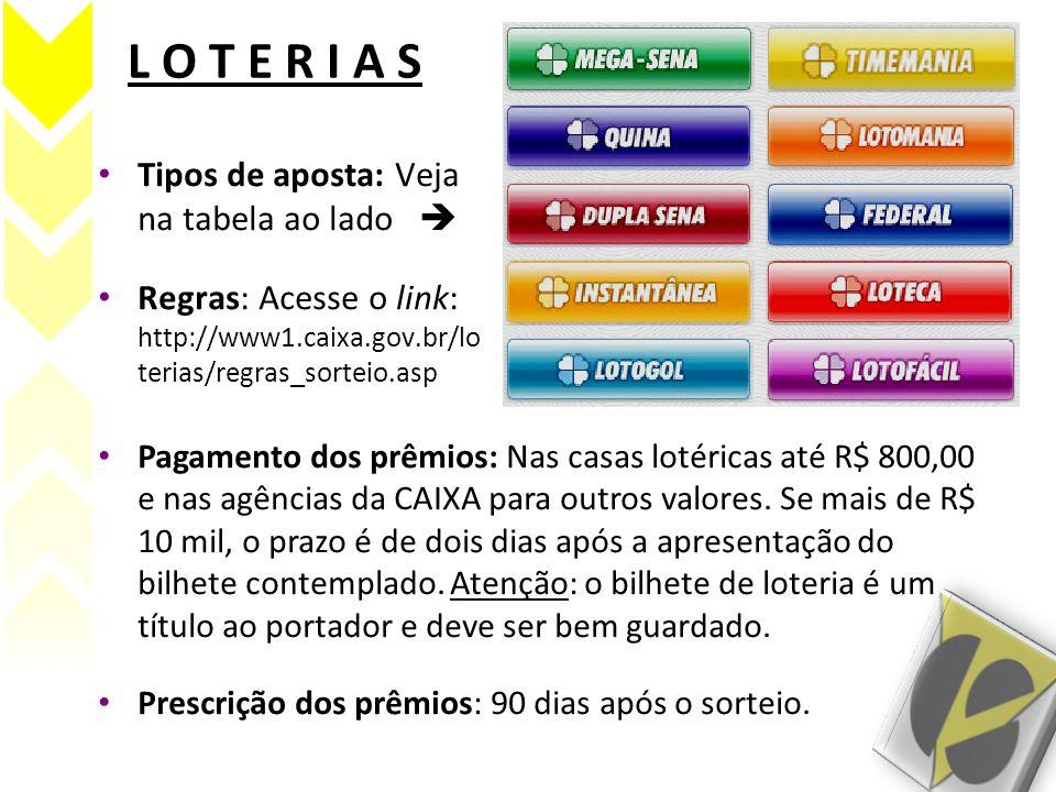 L O T E R I A S • Tipos de aposta: Veja na tabela ao lado  • Regras: Acesse o link: http://www1.caixa.gov.br/lo terias/regras_sorteio.asp • Pagamento