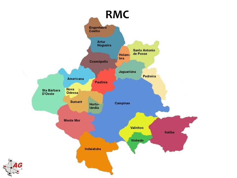 Vantagens Competitivas da RMC •Qualidade de vida elevada –IDH-M em 2010 •18 municípios da RMC acima da média nacional (> 0,727) •09 municípios da RMC acima da média estadual (> 0,783) •04 municípios da RMC com desenvolvimento humano muito alto (> 0,8) –IFDM FIRJAN 2010: 09 municípios da RMC entre as 50 melhores do país conforme –IPC 2013: município de Campinas é o 12º do país e 2º do ESP em potencial de consumo –Índice de bem-estar urbano: na comparação entre 289 municípios em regiões metropolitanas brasileiras, 15 municípios da RMC estão entre os 30 primeiros Índice por área