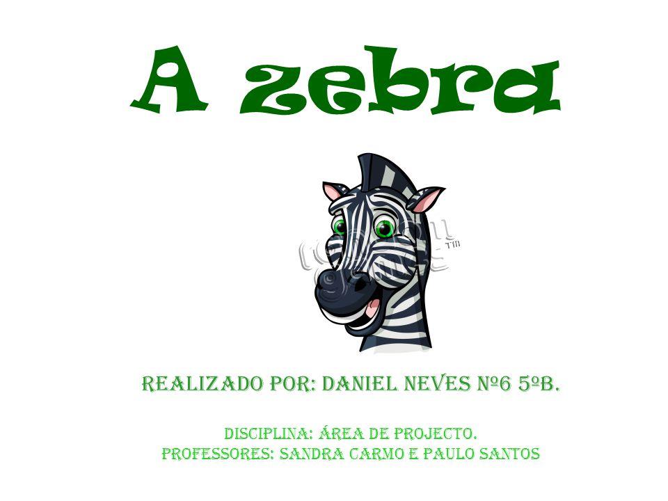 A zebra Realizado por: Daniel neves nº6 5ºB. Disciplina: Área de projecto. Professores: Sandra Carmo e Paulo Santos