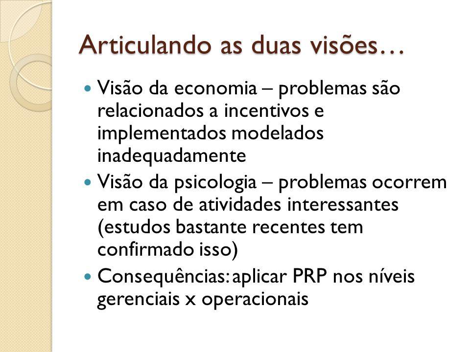 Articulando as duas visões…  Visão da economia – problemas são relacionados a incentivos e implementados modelados inadequadamente  Visão da psicologia – problemas ocorrem em caso de atividades interessantes (estudos bastante recentes tem confirmado isso)  Consequências: aplicar PRP nos níveis gerenciais x operacionais