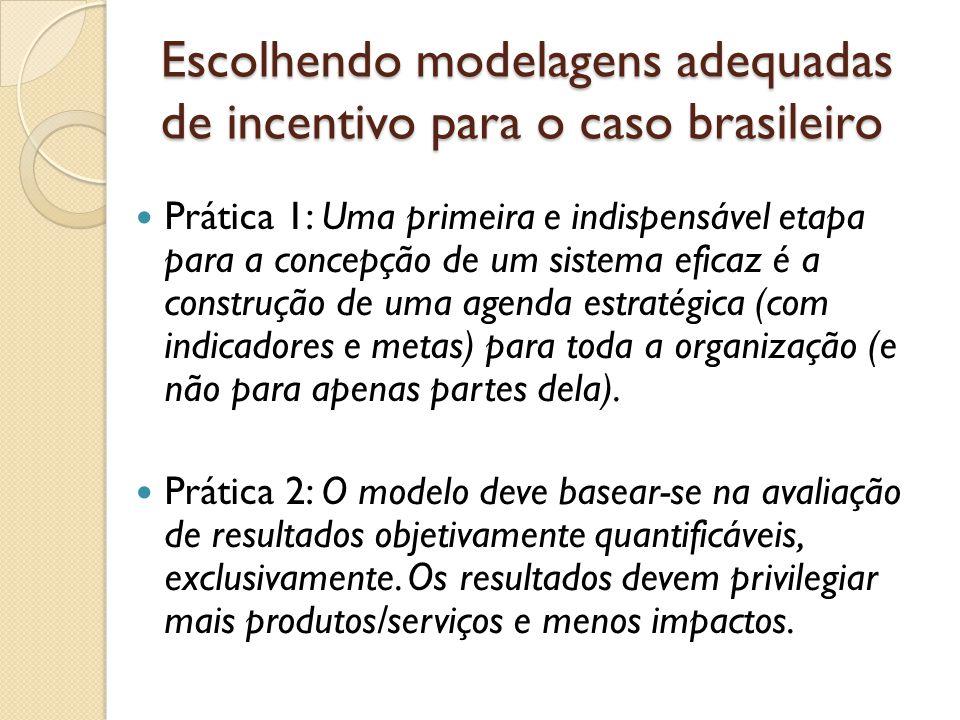 Escolhendo modelagens adequadas de incentivo para o caso brasileiro  Prática 1: Uma primeira e indispensável etapa para a concepção de um sistema eficaz é a construção de uma agenda estratégica (com indicadores e metas) para toda a organização (e não para apenas partes dela).