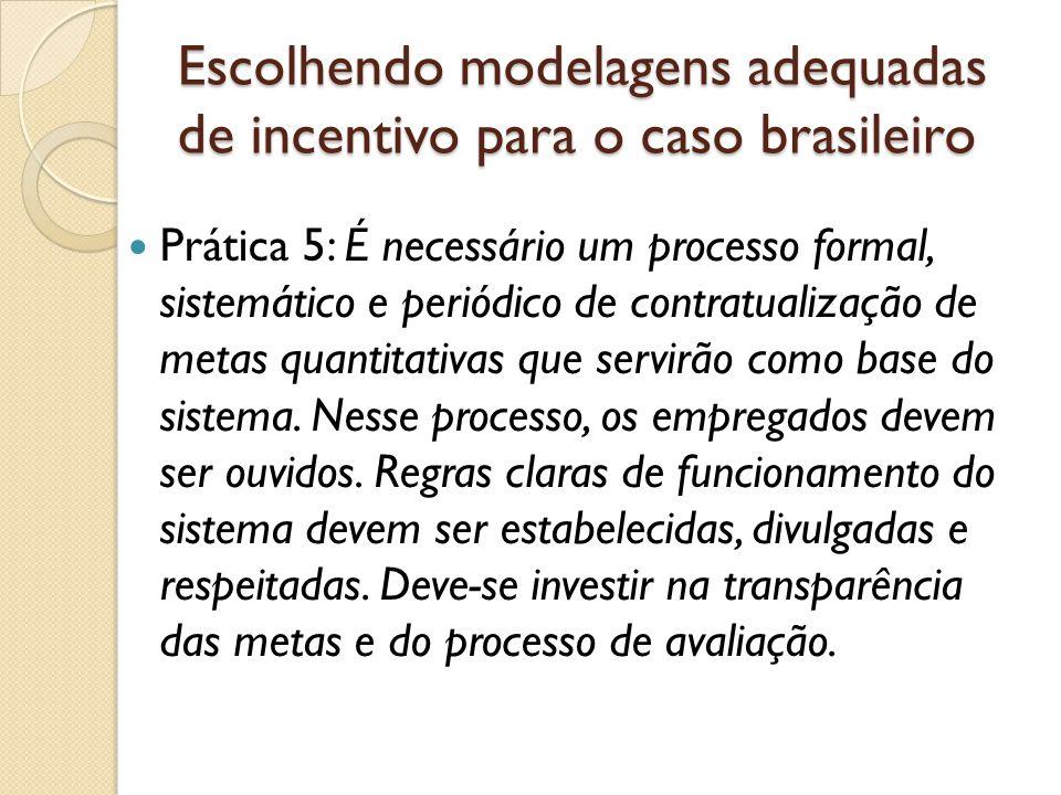 Escolhendo modelagens adequadas de incentivo para o caso brasileiro  Prática 5: É necessário um processo formal, sistemático e periódico de contratualização de metas quantitativas que servirão como base do sistema.