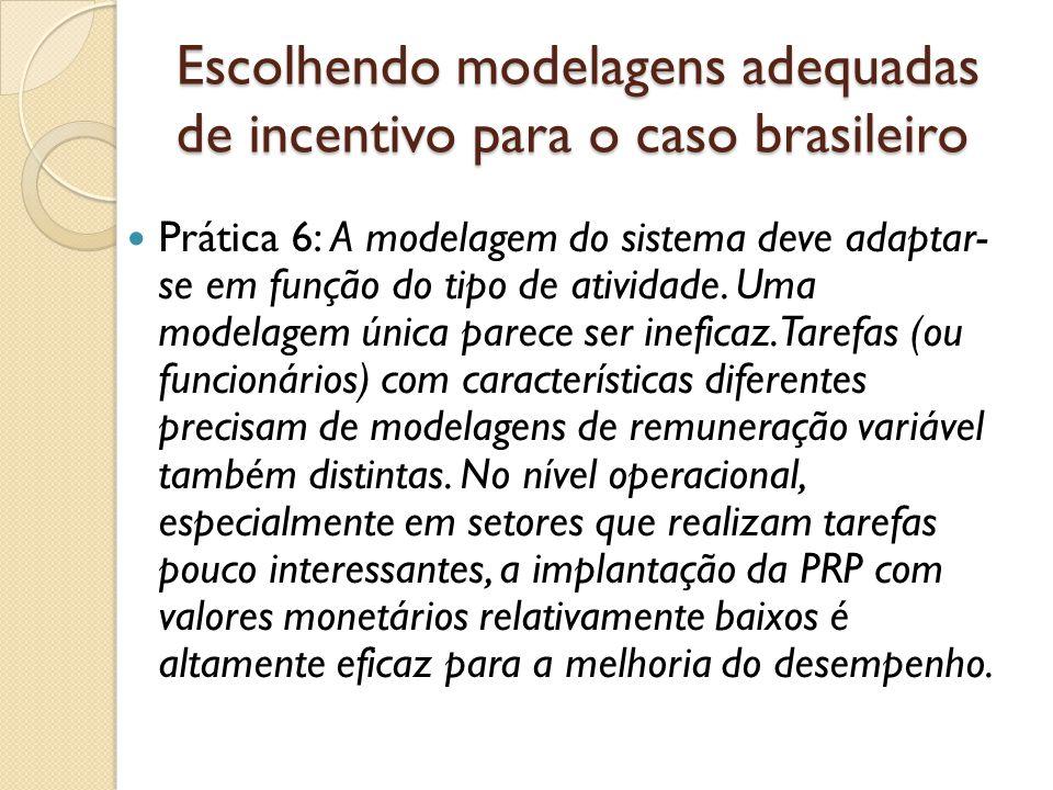 Escolhendo modelagens adequadas de incentivo para o caso brasileiro  Prática 6: A modelagem do sistema deve adaptar- se em função do tipo de atividade.