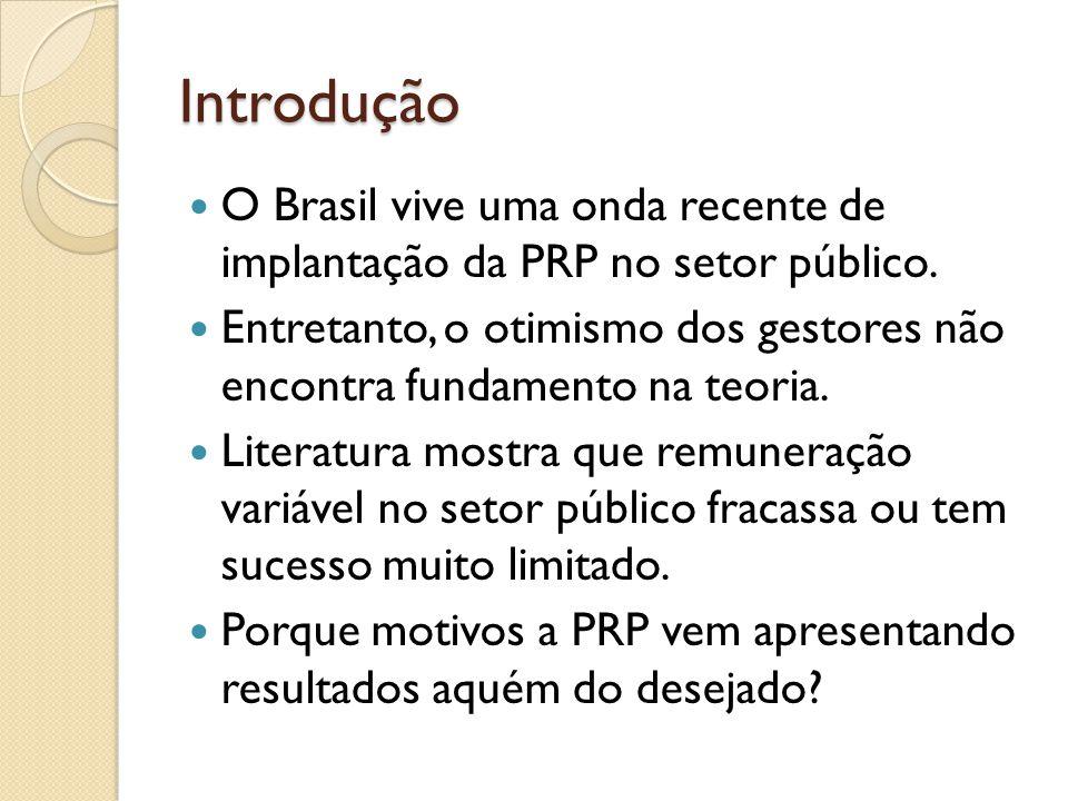 Introdução  O Brasil vive uma onda recente de implantação da PRP no setor público.