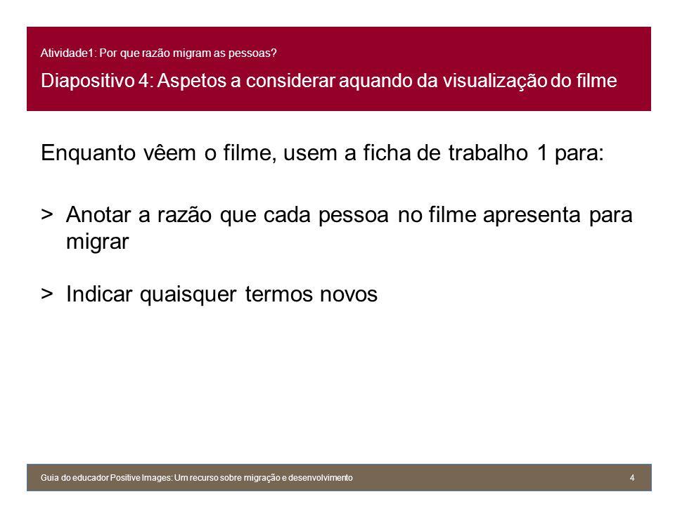Atividade1: Por que razão migram as pessoas? Diapositivo 4: Aspetos a considerar aquando da visualização do filme Enquanto vêem o filme, usem a ficha