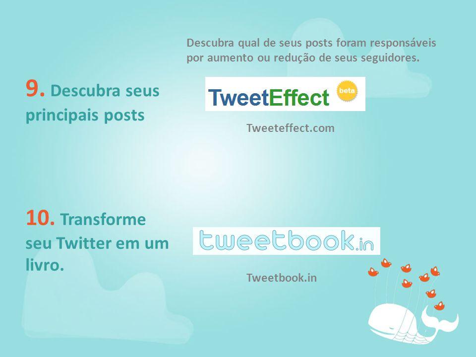 9. Descubra seus principais posts 10. Transforme seu Twitter em um livro.