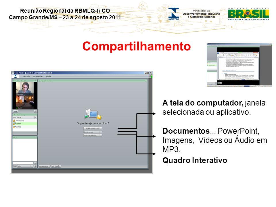 Reunião Regional da RBMLQ-I / CO Campo Grande/MS – 23 a 24 de agosto 2011 Compartilhamento A tela do computador, janela selecionada ou aplicativo.