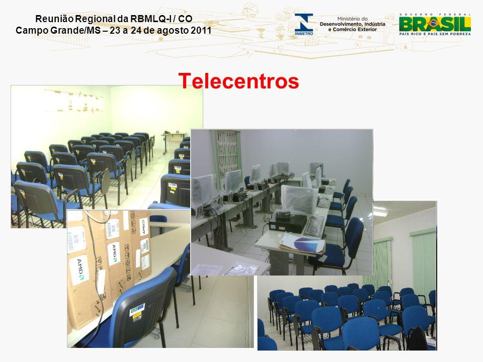 Reunião Regional da RBMLQ-I / CO Campo Grande/MS – 23 a 24 de agosto 2011 Situação atual: 43 telecentros prontos 10 com obras em andamento (ou sendo vistoriadas) Custo por unidade: R$ 49.354,90 Telecentros