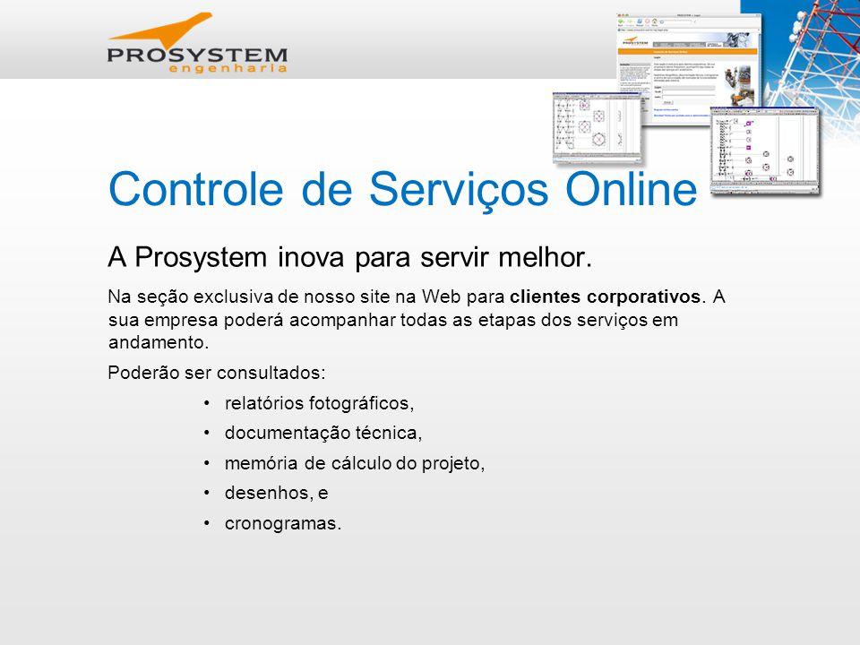 Controle de Serviços Online A Prosystem inova para servir melhor.