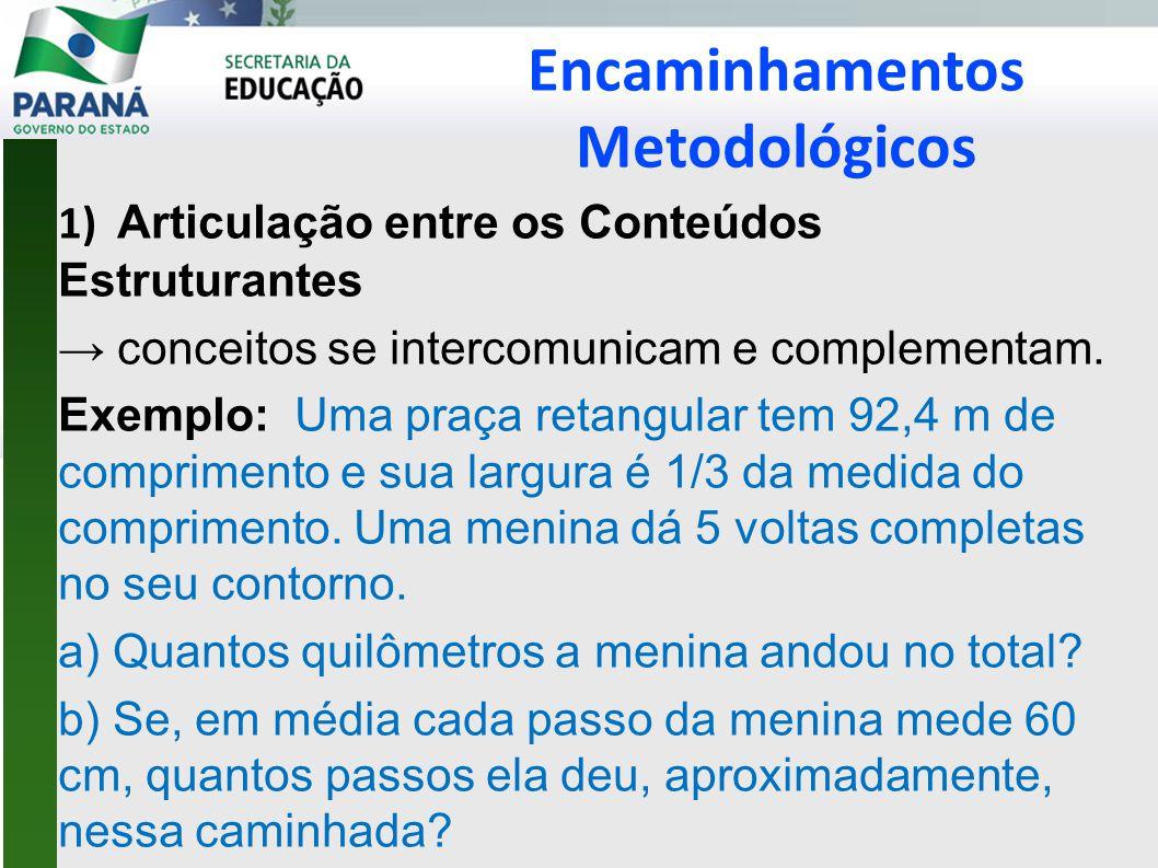 Encaminhamentos Metodológicos 1) Articulação entre os Conteúdos Estruturantes → conceitos se intercomunicam e complementam.