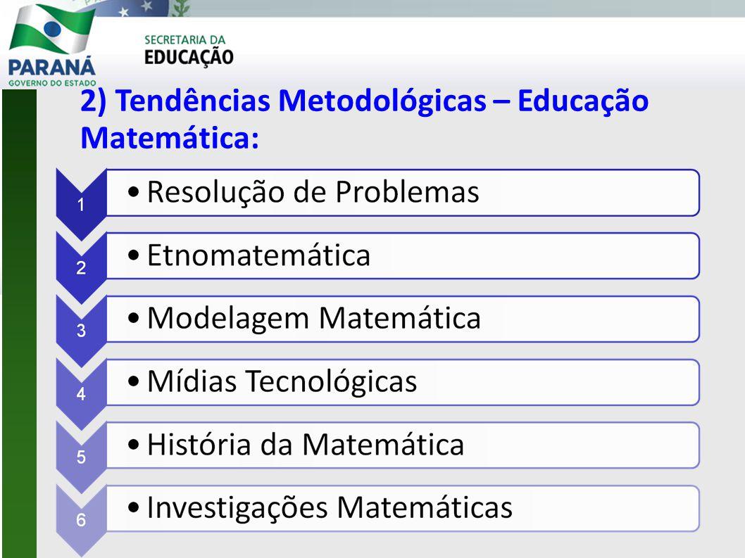 2) Tendências Metodológicas – Educação Matemática: