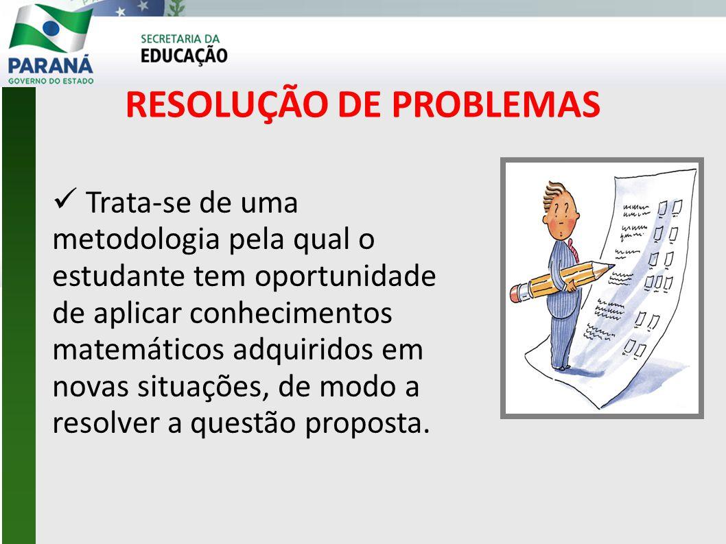 RESOLUÇÃO DE PROBLEMAS  Trata-se de uma metodologia pela qual o estudante tem oportunidade de aplicar conhecimentos matemáticos adquiridos em novas situações, de modo a resolver a questão proposta.