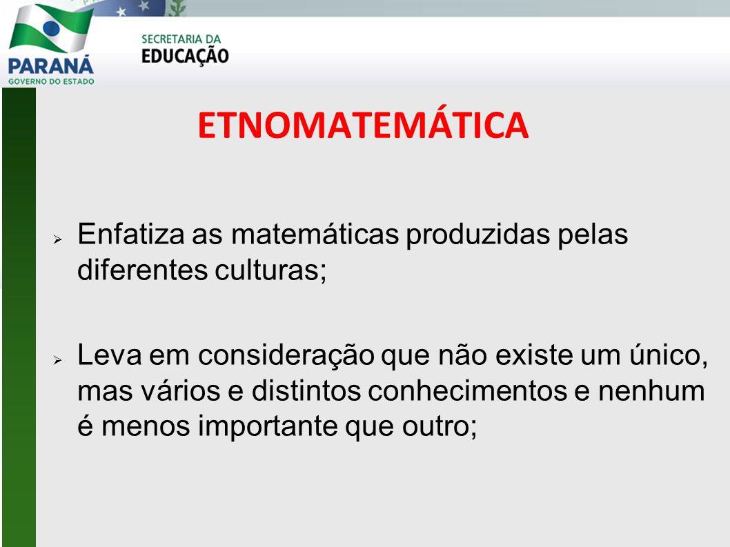 ETNOMATEMÁTICA  Enfatiza as matemáticas produzidas pelas diferentes culturas;  Leva em consideração que não existe um único, mas vários e distintos conhecimentos e nenhum é menos importante que outro;
