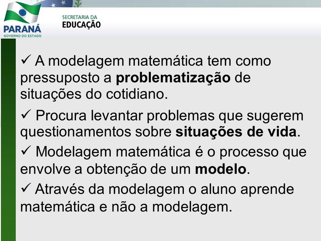  A modelagem matemática tem como pressuposto a problematização de situações do cotidiano.