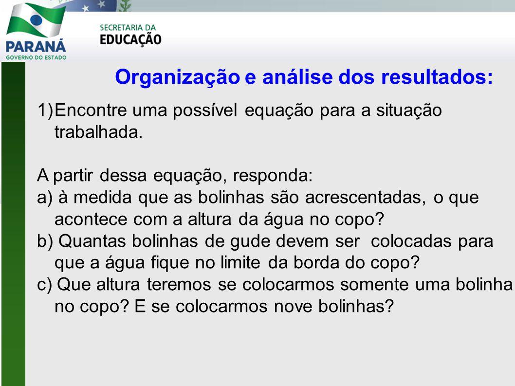 Organização e análise dos resultados: 1)Encontre uma possível equação para a situação trabalhada.