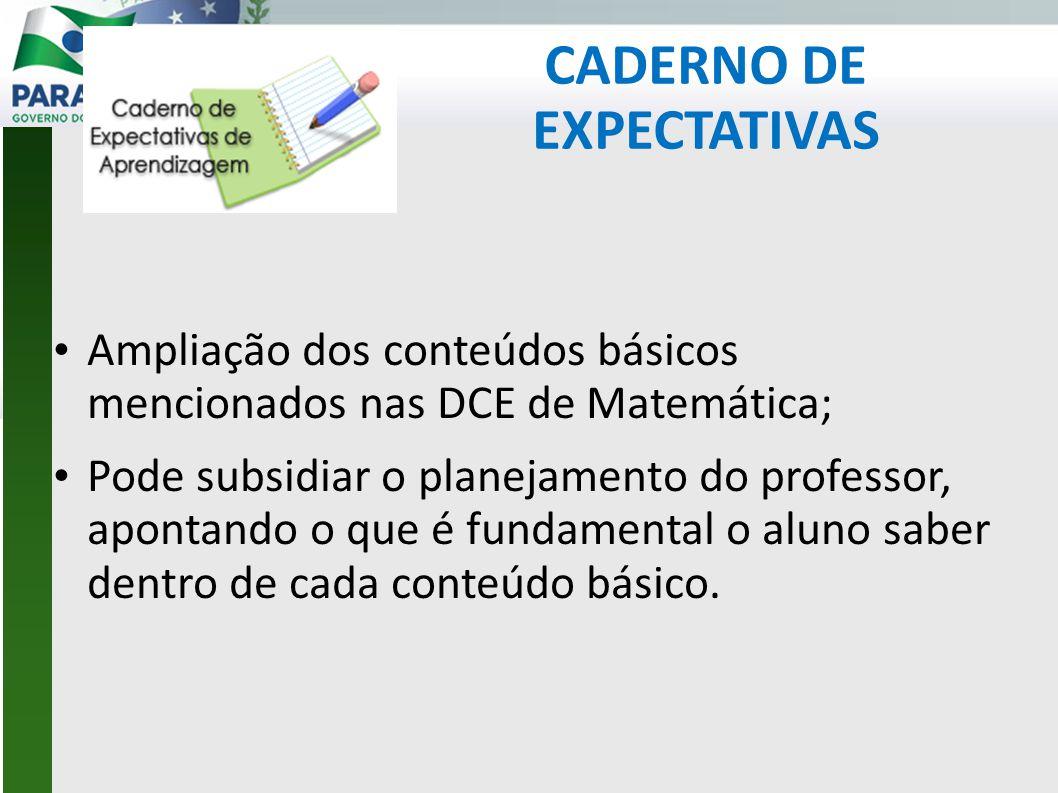 CADERNO DE EXPECTATIVAS • Ampliação dos conteúdos básicos mencionados nas DCE de Matemática; • Pode subsidiar o planejamento do professor, apontando o que é fundamental o aluno saber dentro de cada conteúdo básico.