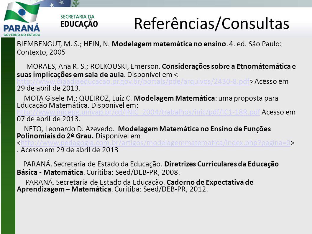 Referências/Consultas BIEMBENGUT, M.S.; HEIN, N. Modelagem matemática no ensino.