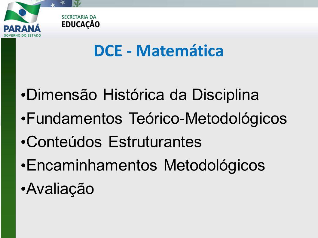 DCE - Matemática • Dimensão Histórica da Disciplina • Fundamentos Teórico-Metodológicos • Conteúdos Estruturantes • Encaminhamentos Metodológicos • Avaliação