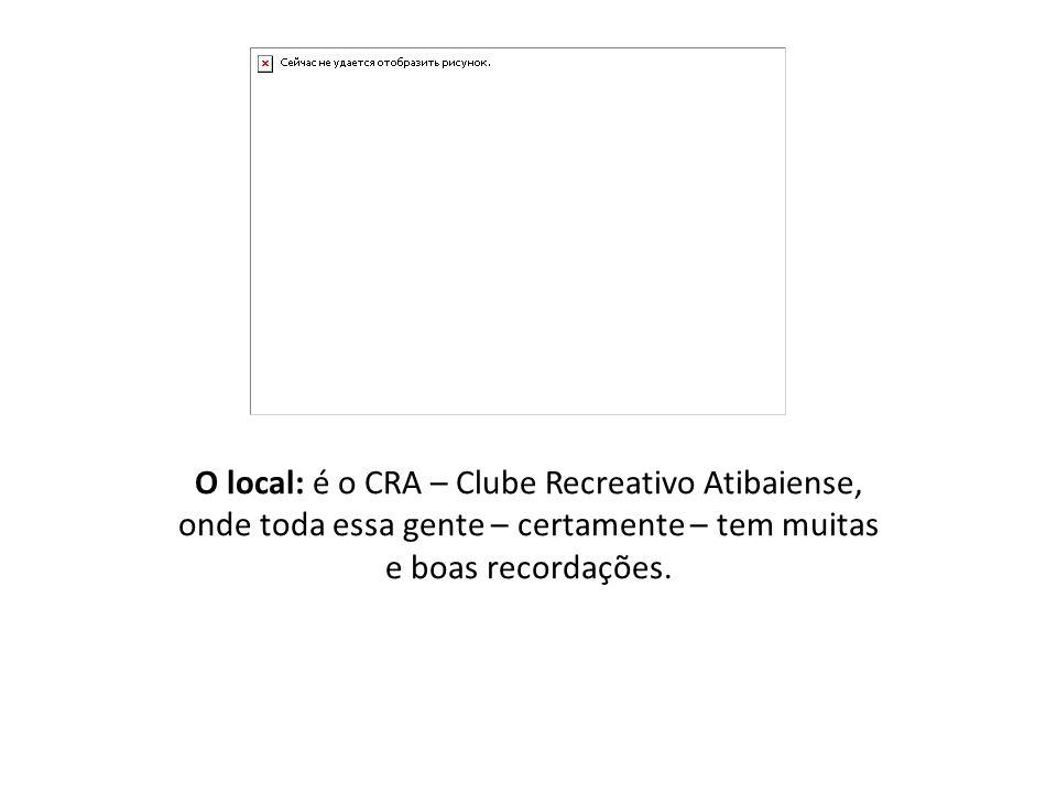 O local: é o CRA – Clube Recreativo Atibaiense, onde toda essa gente – certamente – tem muitas e boas recordações.