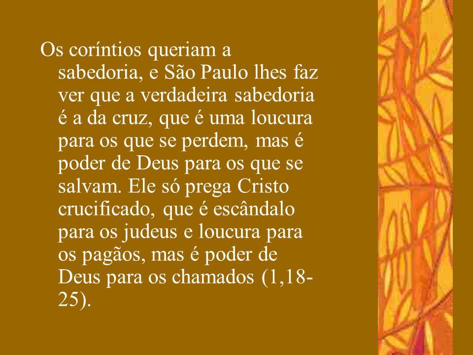 Os coríntios queriam a sabedoria, e São Paulo lhes faz ver que a verdadeira sabedoria é a da cruz, que é uma loucura para os que se perdem, mas é pode