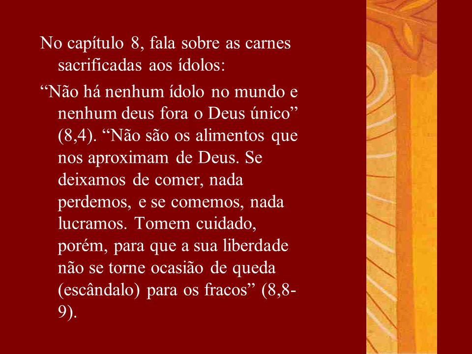 """No capítulo 8, fala sobre as carnes sacrificadas aos ídolos: """"Não há nenhum ídolo no mundo e nenhum deus fora o Deus único"""" (8,4). """"Não são os aliment"""