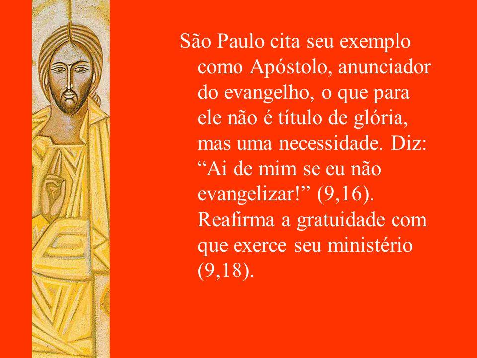 """São Paulo cita seu exemplo como Apóstolo, anunciador do evangelho, o que para ele não é título de glória, mas uma necessidade. Diz: """"Ai de mim se eu n"""
