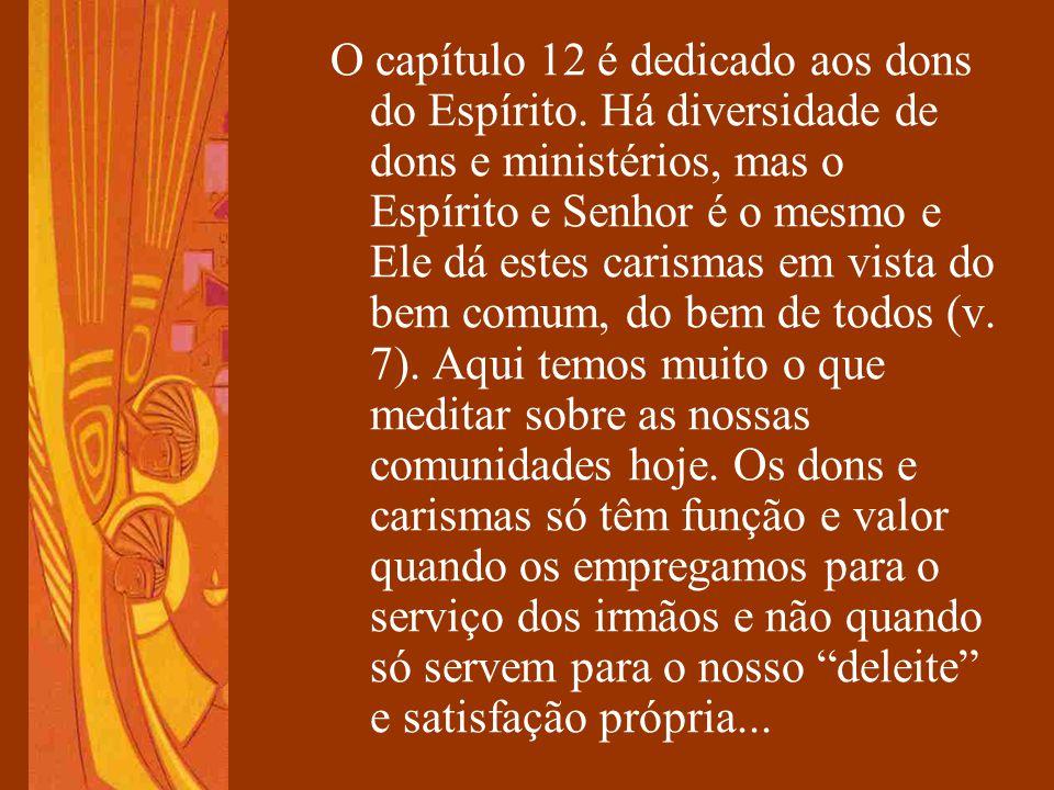 O capítulo 12 é dedicado aos dons do Espírito. Há diversidade de dons e ministérios, mas o Espírito e Senhor é o mesmo e Ele dá estes carismas em vist