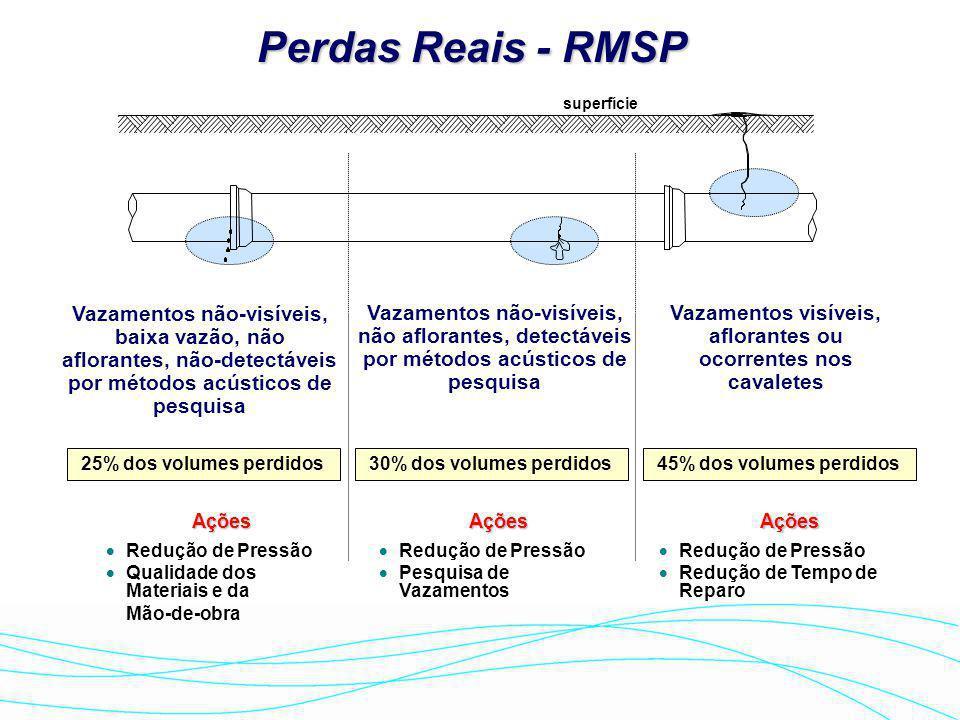 Perdas Reais Tipos de Vazamentos -Vazamentos Visíveis -Vazamentos Visíveis: aflorantes à superfície, comunicados pela população (195) e detectados pel