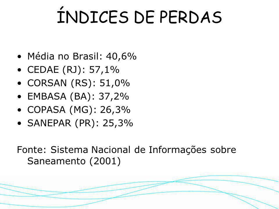 Referências bibliográficas SABESP - Rateio das Perdas na Distribuição - Perfis das Perdas nas UNs (1998/2000) Índices de Perdas em outras regiões: Ing
