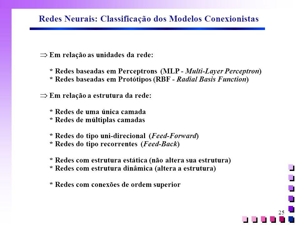 25 Redes Neurais: Classificação dos Modelos Conexionistas  Em relação as unidades da rede: * Redes baseadas em Perceptrons (MLP - Multi-Layer Percept