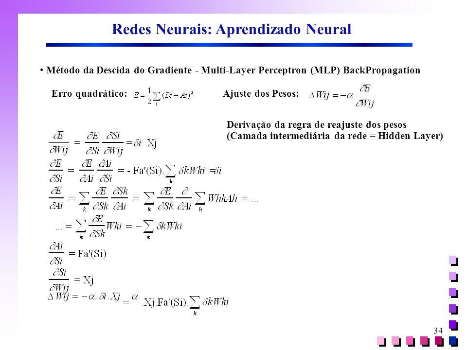 34 Redes Neurais: Aprendizado Neural • Método da Descida do Gradiente - Multi-Layer Perceptron (MLP) BackPropagation Erro quadrático:Ajuste dos Pesos: