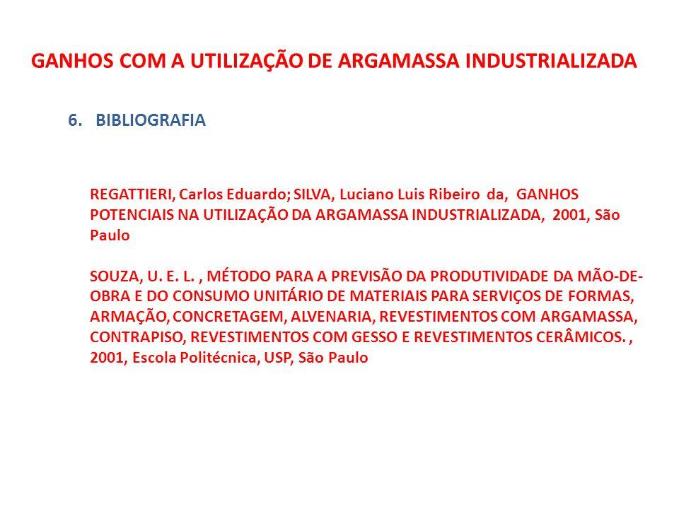GANHOS COM A UTILIZAÇÃO DE ARGAMASSA INDUSTRIALIZADA 6.