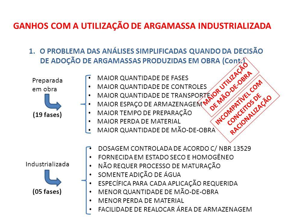 GANHOS COM A UTILIZAÇÃO DE ARGAMASSA INDUSTRIALIZADA 1.O PROBLEMA DAS ANÁLISES SIMPLIFICADAS QUANDO DA DECISÃO DE ADOÇÃO DE ARGAMASSAS PRODUZIDAS EM OBRA (Cont.) Preparada em obra Industrializada (19 fases) (05 fases) • MAIOR QUANTIDADE DE FASES • MAIOR QUANTIDADE DE CONTROLES • MAIOR QUANTIDADE DE TRANSPORTE • MAIOR ESPAÇO DE ARMAZENAGEM • MAIOR TEMPO DE PREPARAÇÃO • MAIOR PERDA DE MATERIAL • MAIOR QUANTIDADE DE MÃO-DE-OBRA • DOSAGEM CONTROLADA DE ACORDO C/ NBR 13529 • FORNECIDA EM ESTADO SECO E HOMOGÊNEO • NÃO REQUER PROCESSO DE MATURAÇÃO • SOMENTE ADIÇÃO DE ÁGUA • ESPECÍFICA PARA CADA APLICAÇÃO REQUERIDA • MENOR QUANTIDADE DE MÃO-DE-OBRA • MENOR PERDA DE MATERIAL • FACILIDADE DE REALOCAR ÁREA DE ARMAZENAGEM MAIOR UTILIZAÇÃO DE MÃO-DE-OBRA INCOMPATÍVEL COM CONCEITOS DE RACIONALIZAÇÃO