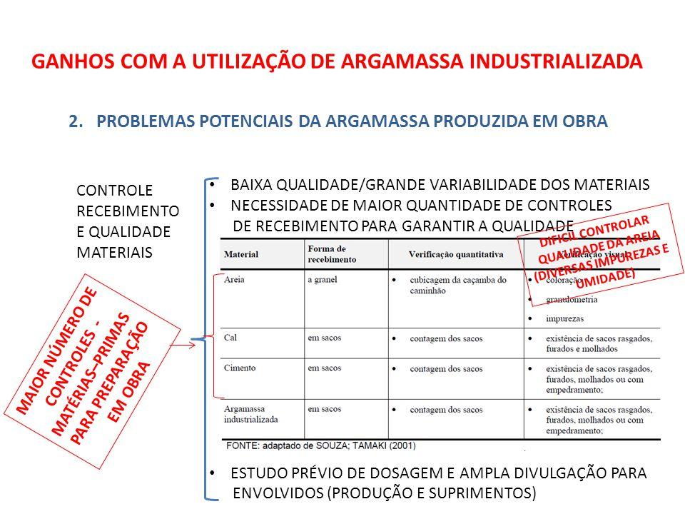 GANHOS COM A UTILIZAÇÃO DE ARGAMASSA INDUSTRIALIZADA 3.COMPARATIVO DE CUSTOS ENTRE ARGAMASSA PRODUZIDA EM OBRA E INDUSTRIALIZADA (CONT.) TEMOS : PARA 300M2 DE ÁREA CONSTRUÍDA EM UMA SEMANA (ANDAR DE EDIFÍCIO) SOMANDO-SE AS ARGAMASSA PARA ASSENTAMENTO, CONTRAPISO, REVESTIMENTO INTERNO E REVESTIMENTO EXTERNO COM BASE NA LITERATURA E CÁLCULOS ATUALIZADOS PODEMOS AFIRMAR QUE NÃO EXISTEM DIFERENÇAS IMPORTANTES DE VALORES A QUALIDADE, A GESTÃO FACILITADA E A POSSIBILIDADE DE EMPREGO DE NOVAS TECNOLOGIAS DE APLICAÇÃO É QUE FAZEM A DIFERENÇA A FAVOR DA INDUSTRIALIZADA
