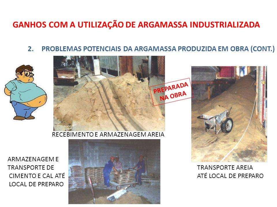 GANHOS COM A UTILIZAÇÃO DE ARGAMASSA INDUSTRIALIZADA 2.PROBLEMAS POTENCIAIS DA ARGAMASSA PRODUZIDA EM OBRA (CONT.) RECEBIMENTO E ARMAZENAGEM AREIA ARMAZENAGEM E TRANSPORTE DE CIMENTO E CAL ATÉ LOCAL DE PREPARO TRANSPORTE AREIA ATÉ LOCAL DE PREPARO PREPARADA NA OBRA