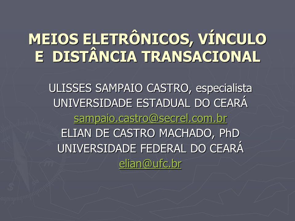 MEIOS ELETRÔNICOS, VÍNCULO E DISTÂNCIA TRANSACIONAL ULISSES SAMPAIO CASTRO, especialista UNIVERSIDADE ESTADUAL DO CEARÁ sampaio.castro@secrel.com.br E