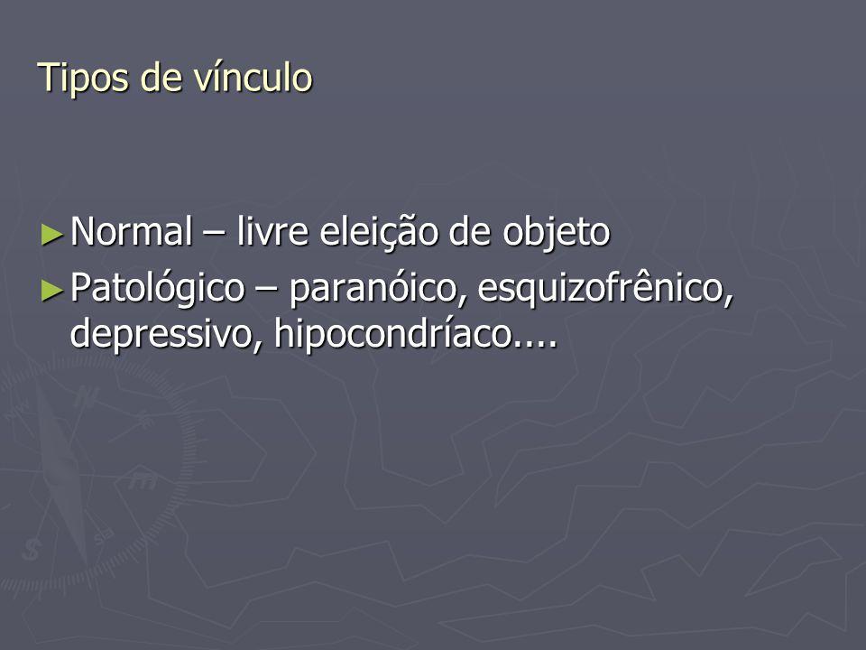 Tipos de vínculo ► Normal – livre eleição de objeto ► Patológico – paranóico, esquizofrênico, depressivo, hipocondríaco....