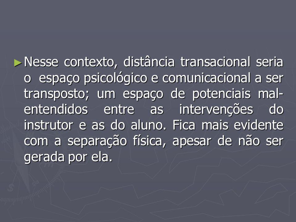 ► Nesse contexto, distância transacional seria o espaço psicológico e comunicacional a ser transposto; um espaço de potenciais mal- entendidos entre a