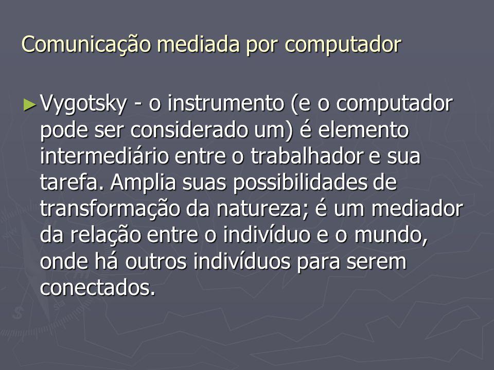 Comunicação mediada por computador ► Vygotsky - o instrumento (e o computador pode ser considerado um) é elemento intermediário entre o trabalhador e
